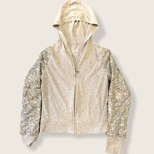 Justice gray hoodie sequin arms 12